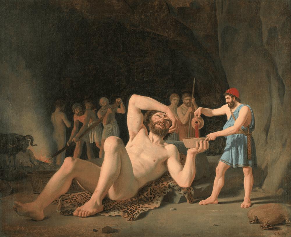 Константин Хансен «Одиссей в пещере Полифема», 1835 Местонахождение: частная коллекция
