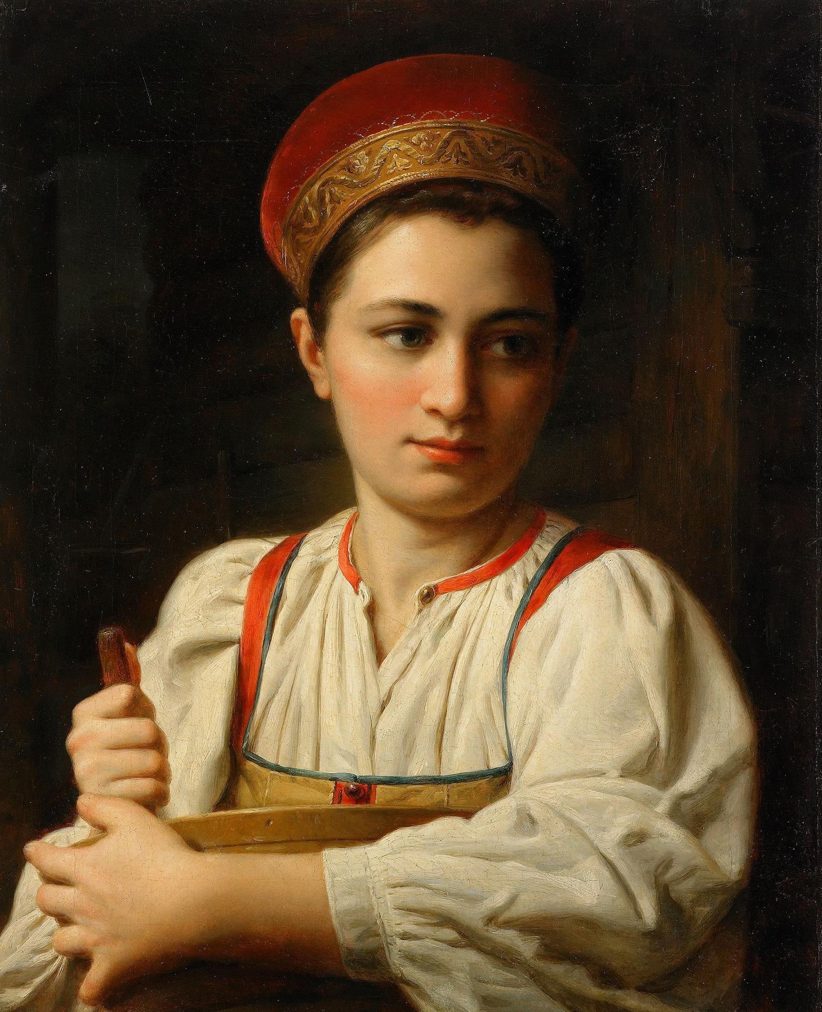 Неизвестный художник «Крестьянка в кокошнике», XIX век