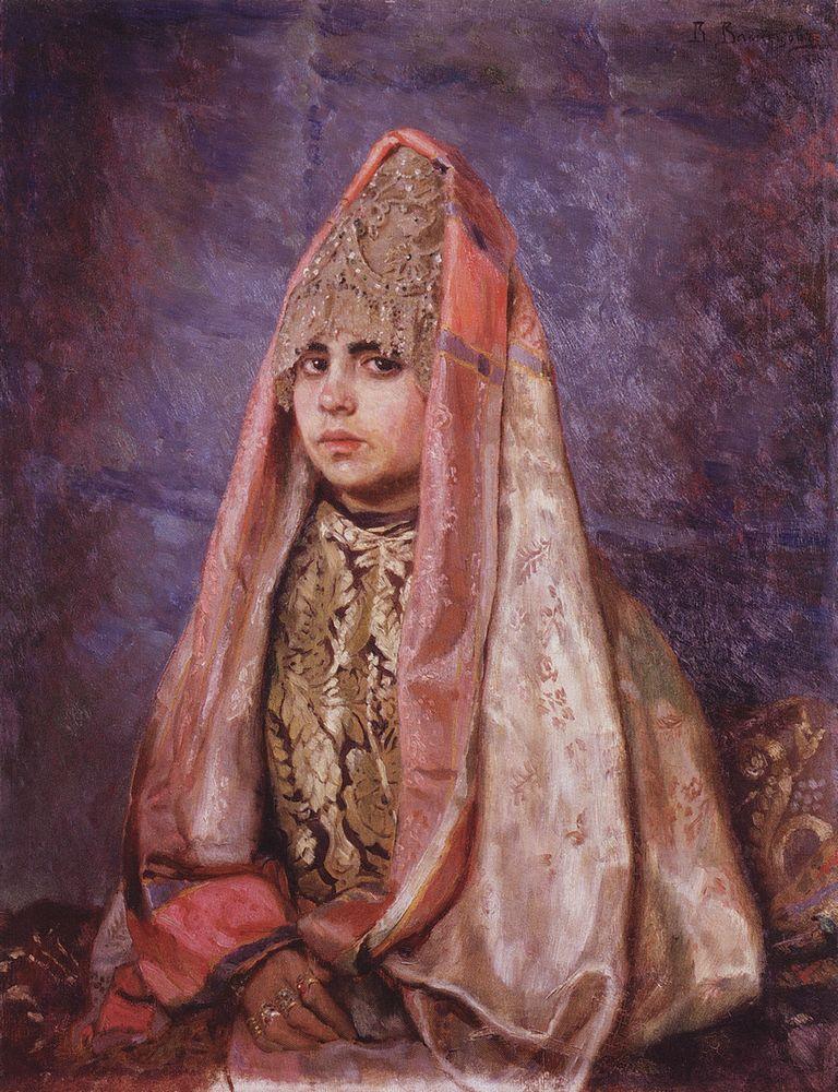 Виктор Васнецов «Боярышня» Портрет В. С. Мамонтовой в однорогом кокошнике, 1884