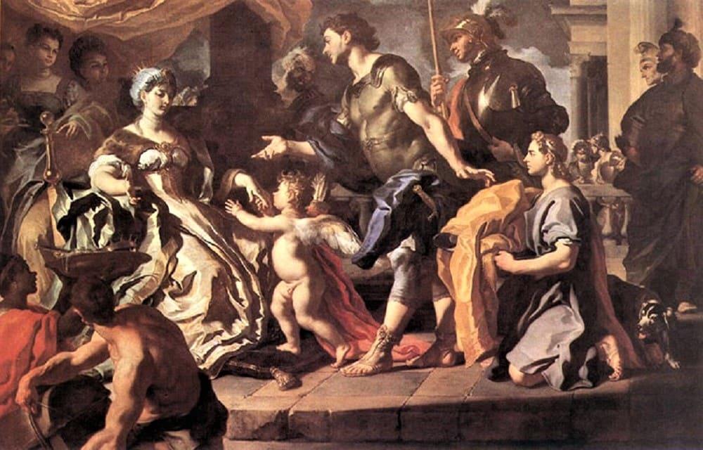 Франческо Солимена «Визит к Дидоне Энея и Купидона», 1720 год Местонахождение: Национальная галерея, Лондон, Великобритания