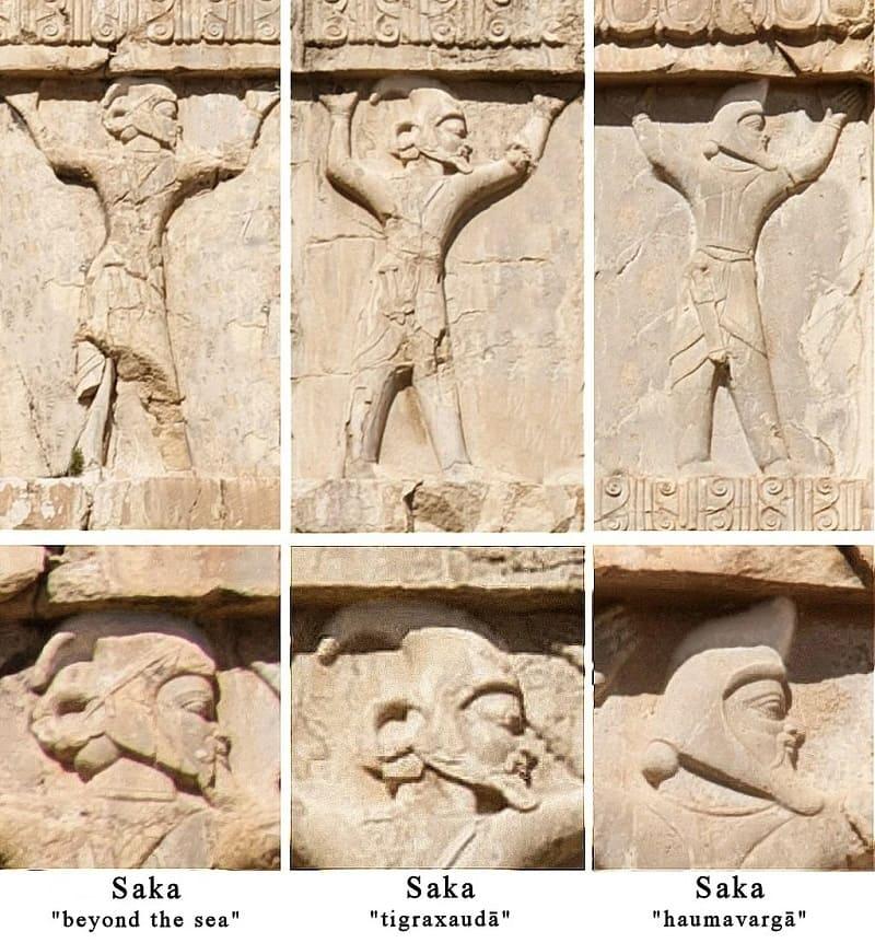 Изображение сакских воинов на гробнице Ксеркса I Изображение сакских воинов на гробнице Ксеркса I \ wikipedia.org