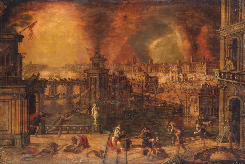 Керстиан де Кейнинк «Пожар Трои», последняя треть XVI века Местонахождение: Государственный Эрмитаж, Санкт-Петербург, Россия