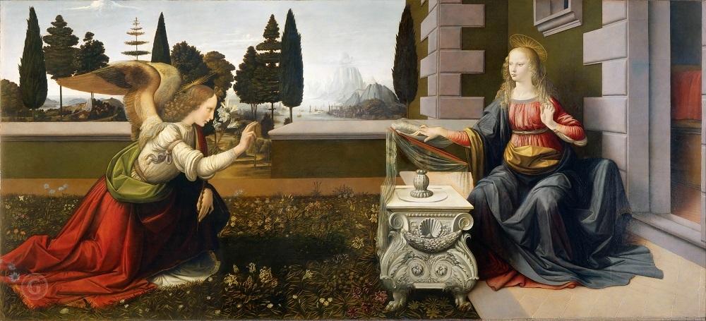 Леонардо да Винчи «Благовещение», ок. 1472 года, Местонахождение: Галерея Уффици, Флоренция, ИталияЛеонардо да Винчи «Благовещение», ок. 1472 года, Местонахождение: Галерея Уффици, Флоренция, Италия