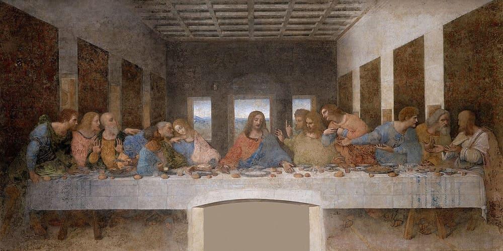 Леонардо да Винчи «Тайная вечеря»,1495-1498 годы, Местонахождение: Санта-Мария-делле-Грацие, Милан, Италия