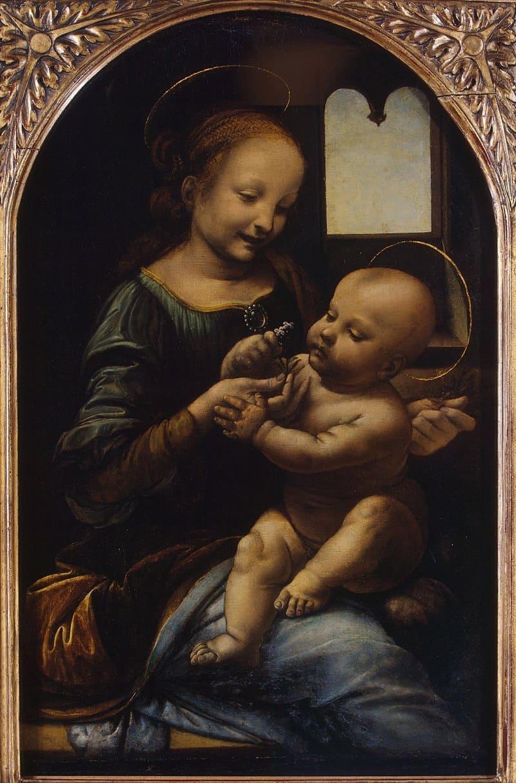 Одна из первых работ. Леонардо да Винчи «Мадонна с цветком», ок.1478 года, Местонахождение: Государственный Эрмитаж, Санкт-Петербург, Россия