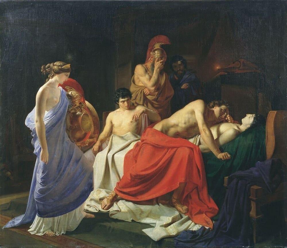 Николай Ге «Ахиллес, оплакивающий Патрокла», 1855 год Местонахождение: Национальный Художественный музей, Минск, Беларусь