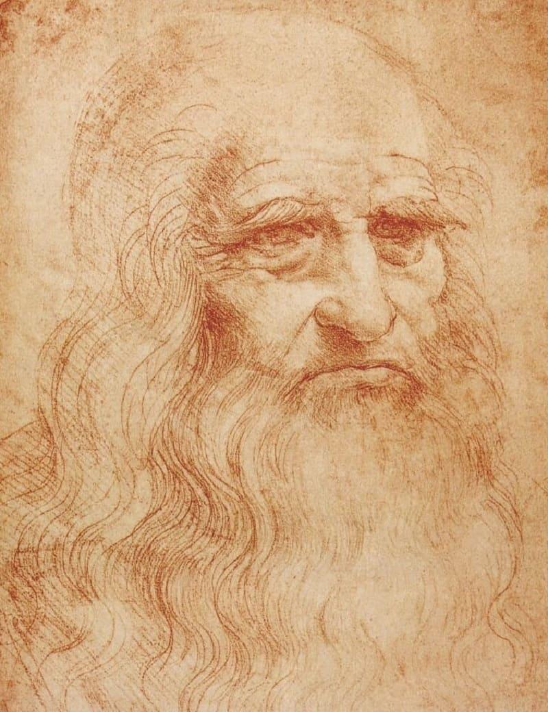 Предполагаемый автопортрет Леонардо да Винчи ок.1510-1515 года, Местонахождение: Королевская библиотека, Турин, Италия