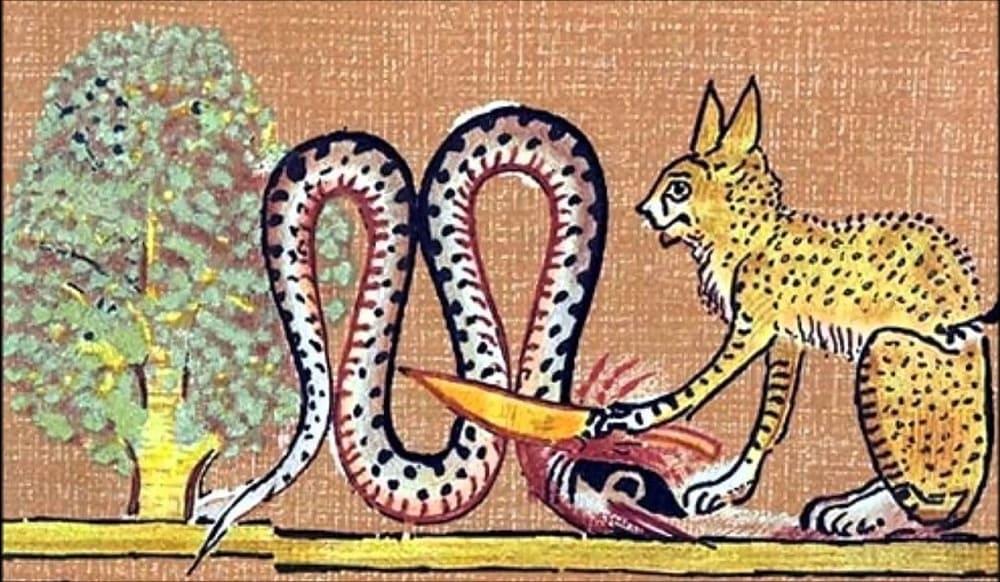 Ра в образе рыжего кота поражает Апопа / egyptian history