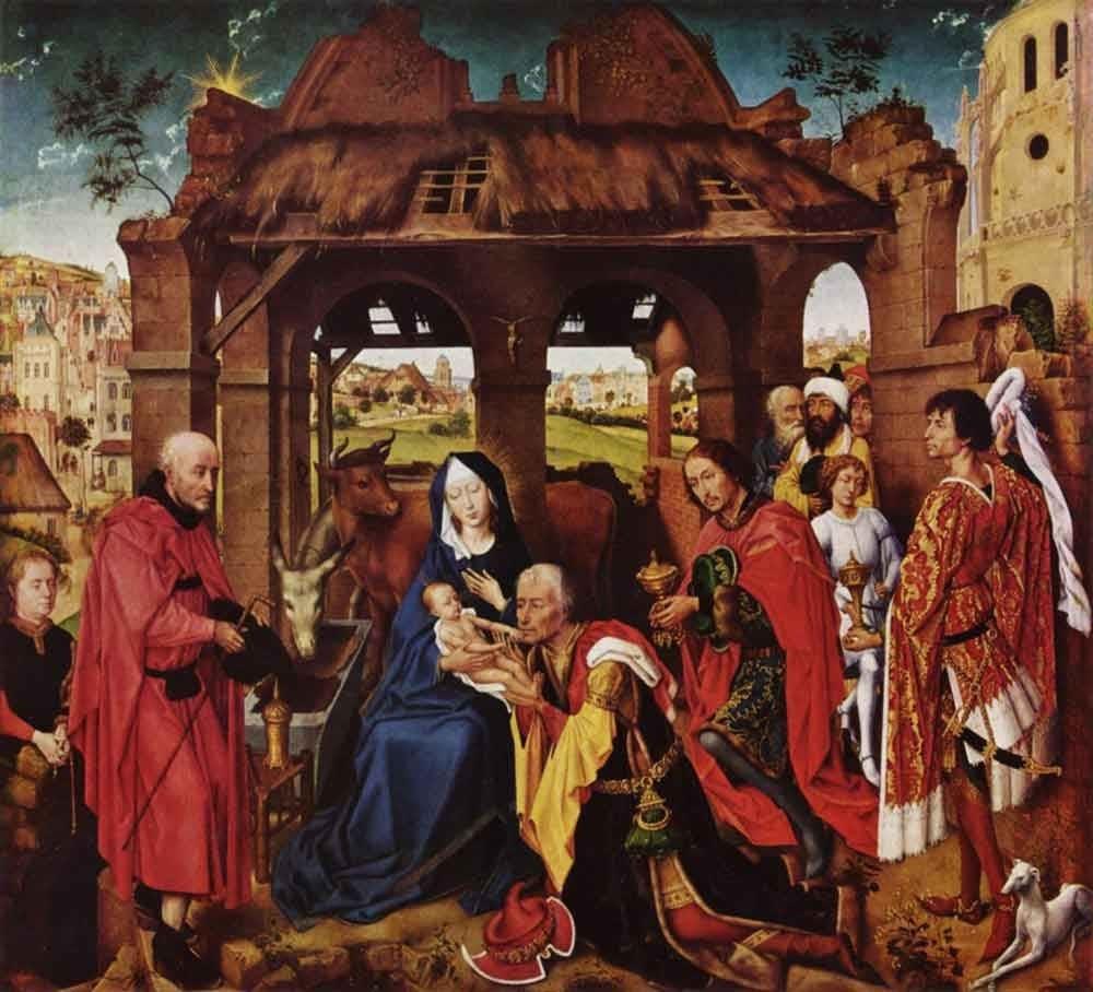 Рогир ван дер Вейден «Поклонение волхвов», ок. 1450–1456 года Местонахождение: Старая пинакотека, Мюнхен, Германия
