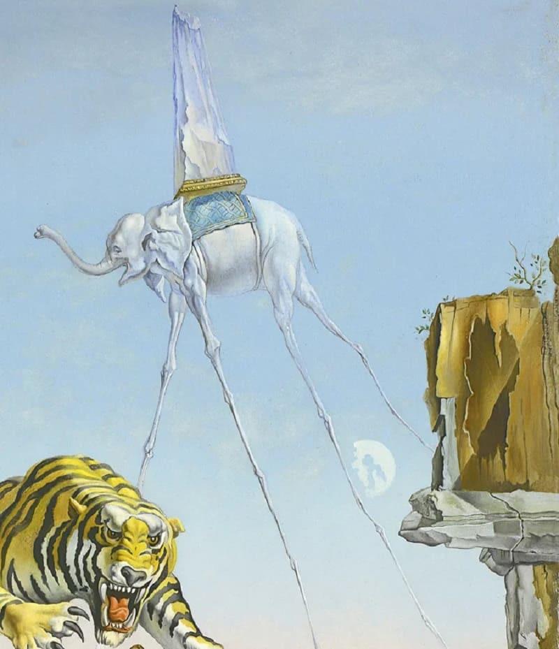 Слон. Фрагмент картины Сальвадора Дали «Сон, вызванный полетом пчелы вокруг граната, за секунду до пробуждения»