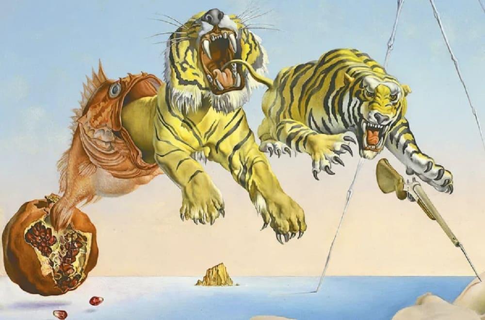 Тигры и ружьё. Фрагмент картины Сальвадора Дали «Сон, вызванный полетом пчелы вокруг граната, за секунду до пробуждения»