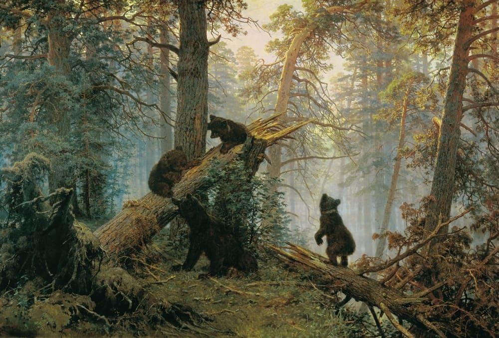 Знаменитое «Утро в сосновом лесу», 1889 год Местонахождение: Третьяковская Галерея, Москва, Россия