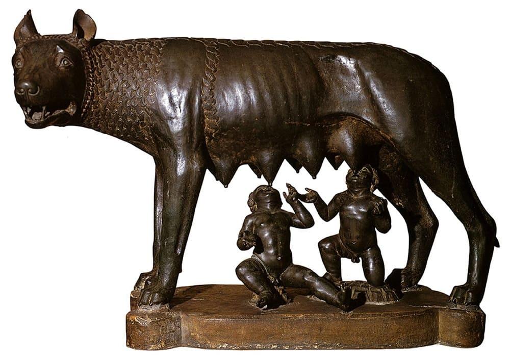 «Капитолийская волчица», кормящая Ромула и Рема, XII век Местонахождение: Палаццо-деи-Консерватори, Рим, Италия