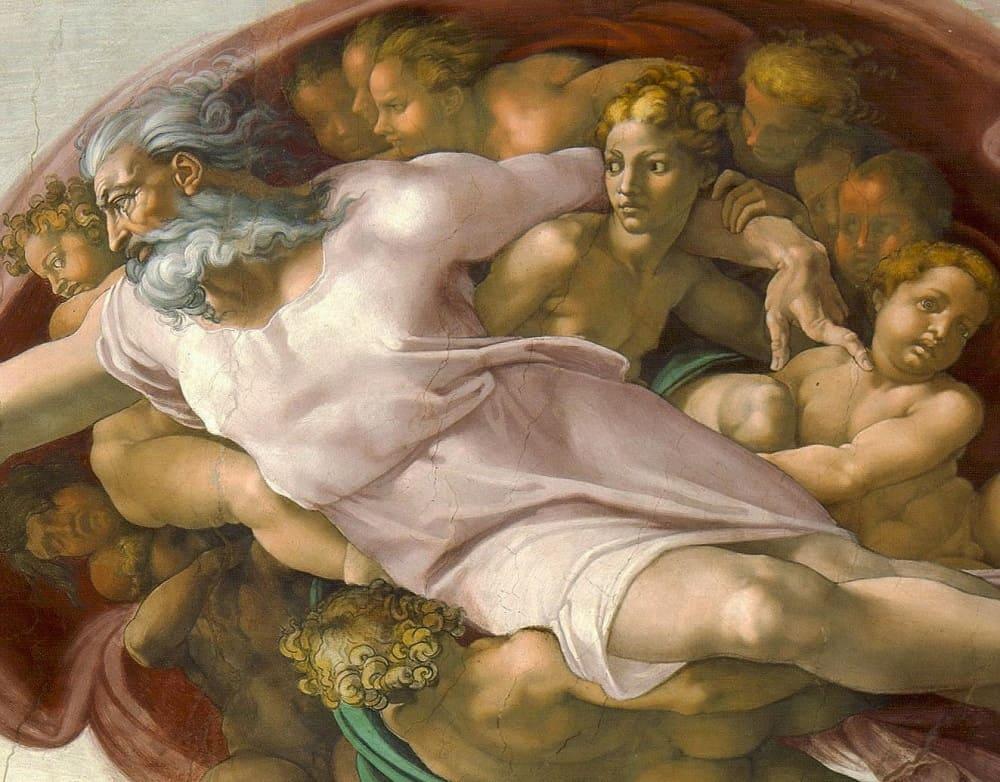Через плечо Бога смотрит ангел, изумленный красотой человека