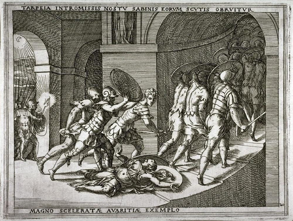 Джамбатиста Фонтана «Тарпея раздавлена сабинскими щитами», XVI век Местонахождение: Фонд Ахенбаха, Сан-Франциско, США