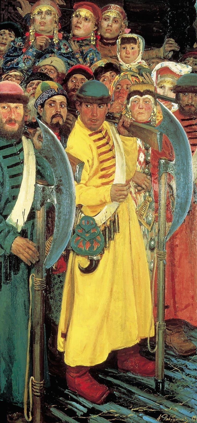 Кафтаны были самых разных цветов. Андрей Петрович Рябушкин «Едут!», 1901 год Местонахождение: Государственный Русский Музей, Санкт-Петербург, Россия
