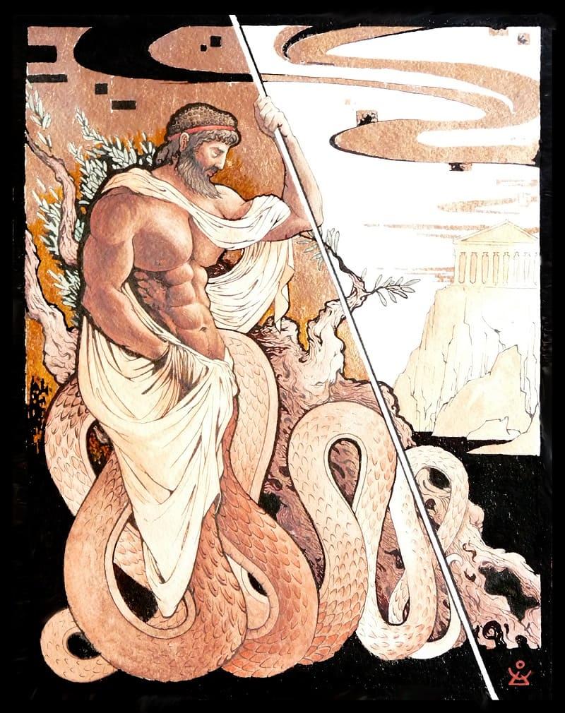 Кекроп - основатель и царь Афин / © Dmitry ILyutkin / behance.net