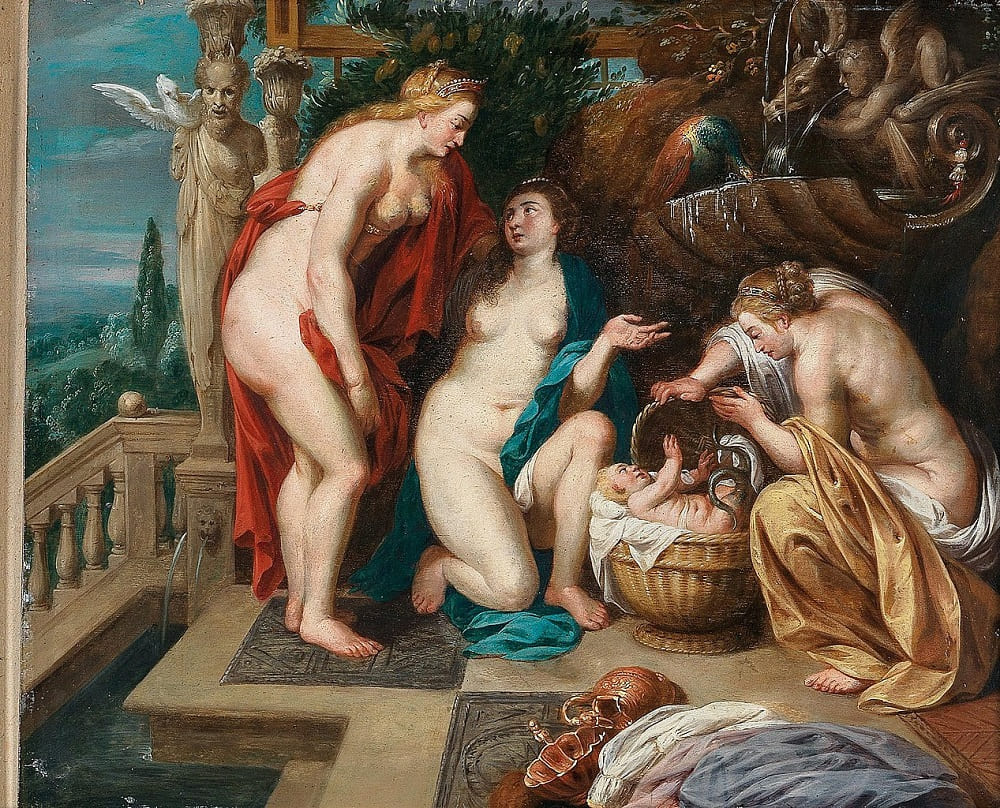 Любопытные сёстры нарушили запрет Афины и посмотрели на ребёнка. Питер Пауль Рубенс, 1640 год Местонахождение: Частная коллекция