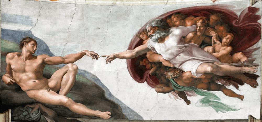Микеланджело Буонарроти «Сотворение Адама», между 1508 и 1512 годами Местонахождение: Сикстинская капелла, Ватикан, Рим, Италия