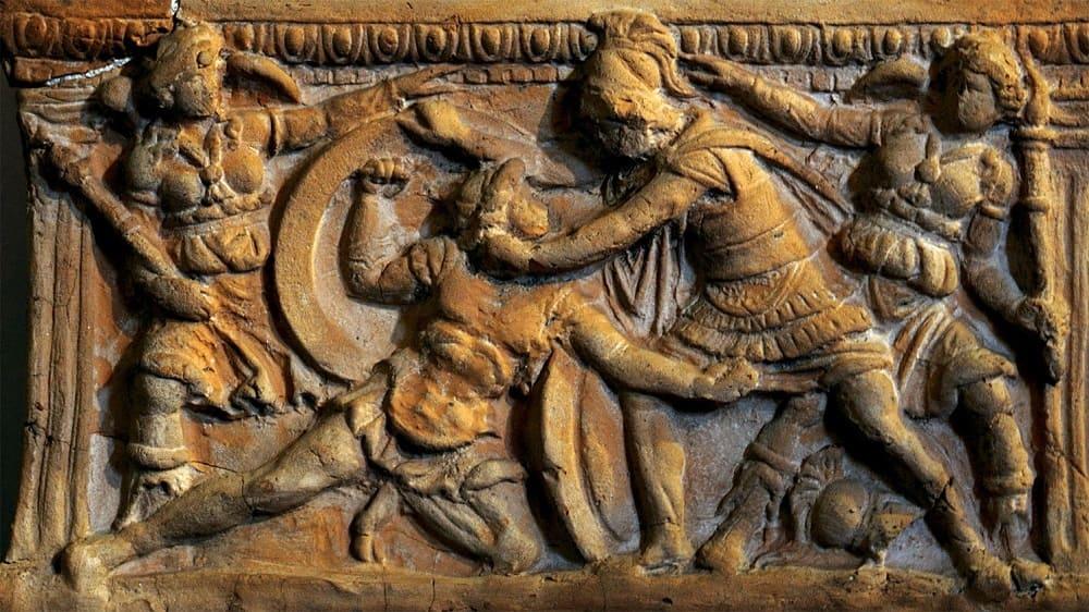 «Поединок Этеокла и Полиника», II век до н.э. Местонахождение: Музей-лапидарий Маффеи, Верона, Италия