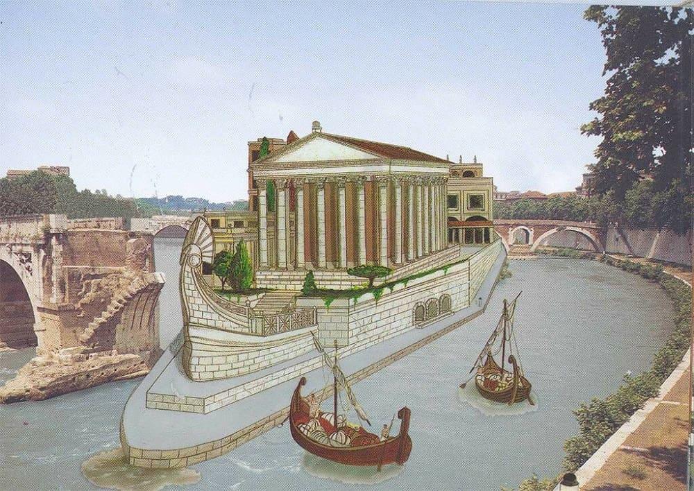 Реконструкция храма Эскулапа на острове Тиберина в Риме / yablor.ru