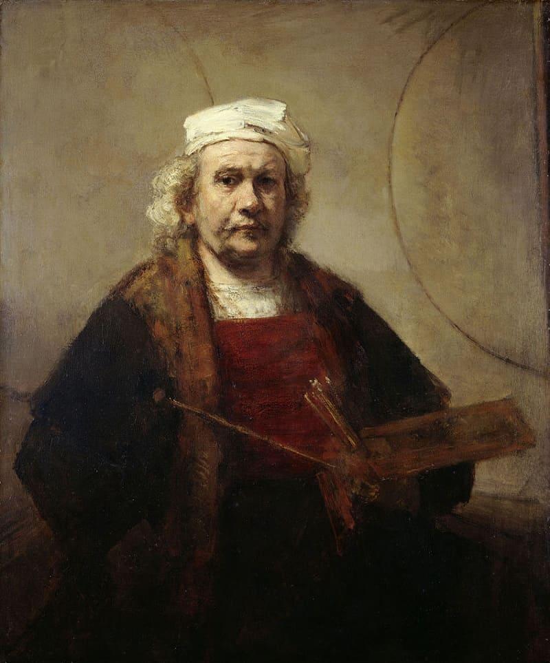 Рембрандт Харменс ван Рейн «Автопортрет с двумя кругами», между 1665 и 1669 годами Местонахождение: Кенвуд-хаус, Лондон, Великобритания
