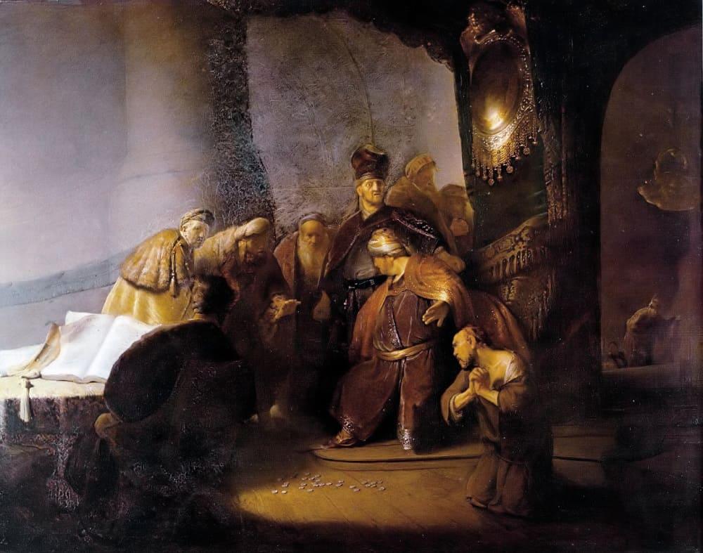 Рембрандт «Иуда возвращает тридцать сребреников», 1629 год Местонахождение: Замок Малгрейв, Лит, Великобритания