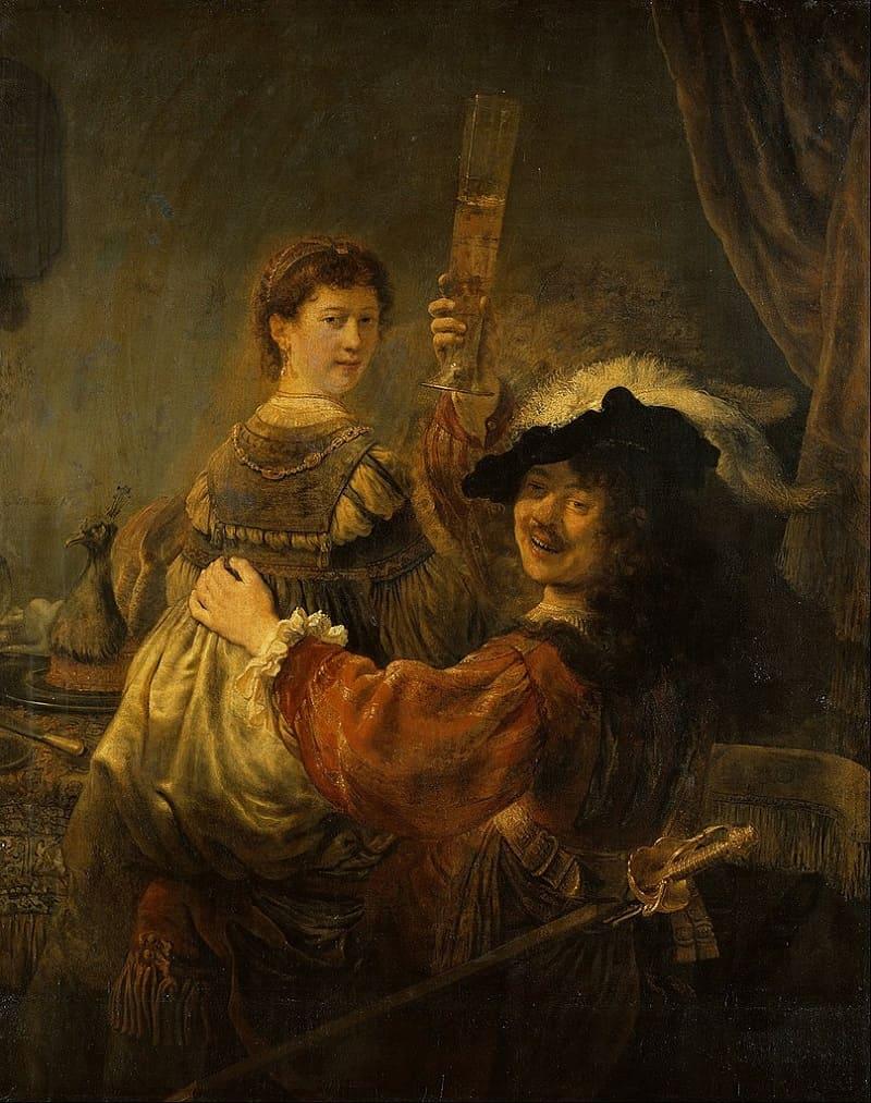 Рембрандт и его жена на знаменитой картине «Автопортрет с Саскией на коленях», 1635 год Местонахождение: Дрезденская галерея, Германия