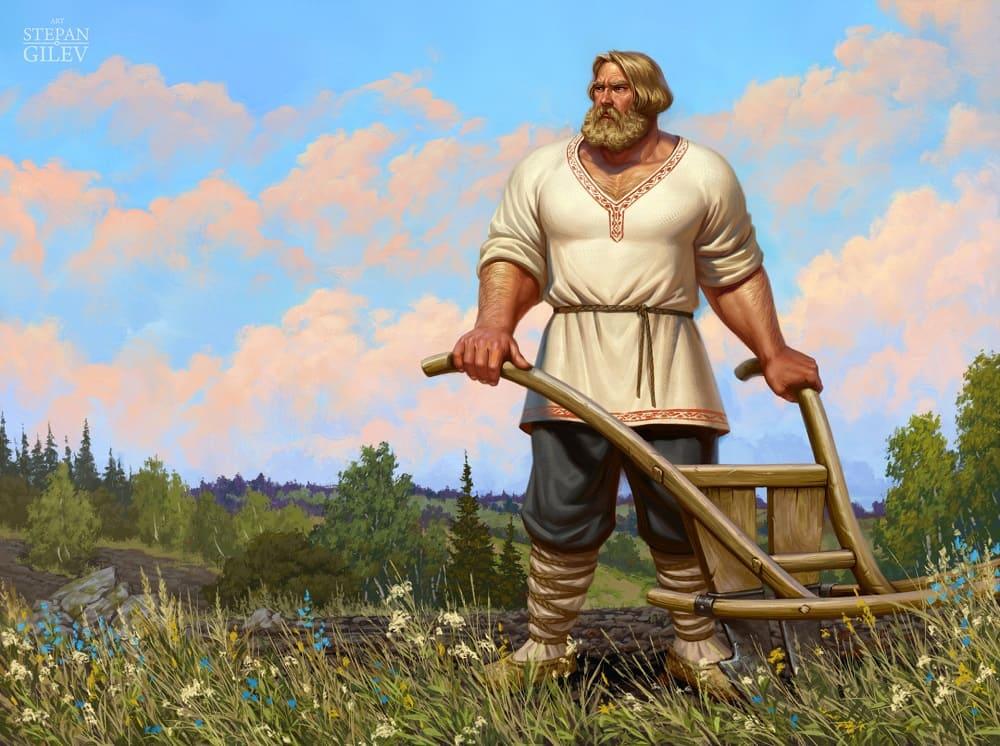 Силу богатырскую получил Микула от самой матушки-Земли / © Stepan Gilev / artstation.com