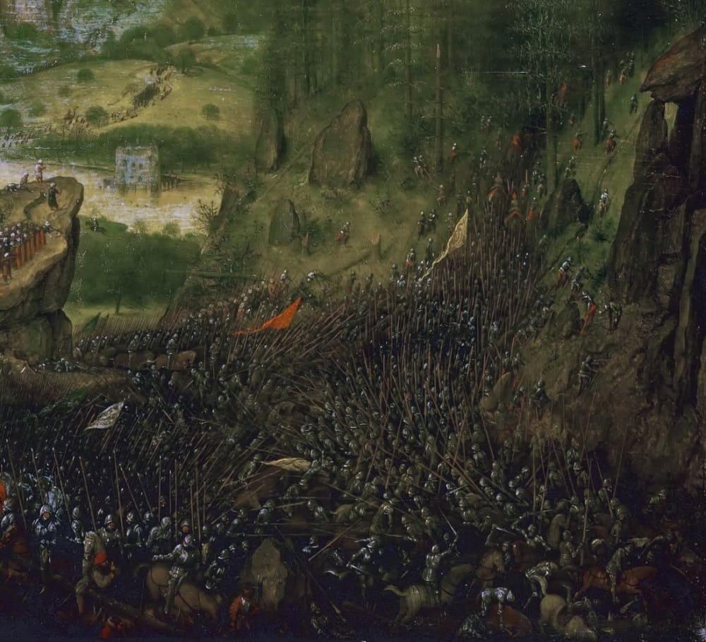 Войны филистимлян и израильтян часто отображались в живописи. Питер Брейгель Старший «Самоубийство Саула», 1562 год Местонахождение: Музей истории искусств, Вена, Австрия