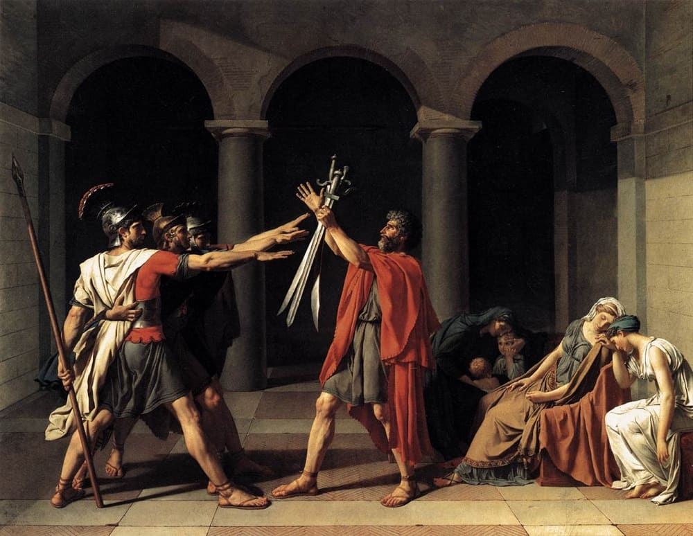 Жак Луи Давид «Клятва Горациев», 1784 год Местонахождение: Лувр, Париж, Франция