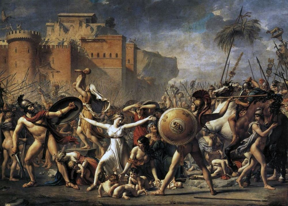 Жак-Луи Давид «Сабинянки, останавливающие сражение между римлянами и сабинянами», 1798 год Местонахождение: Лувр, Париж, Франция
