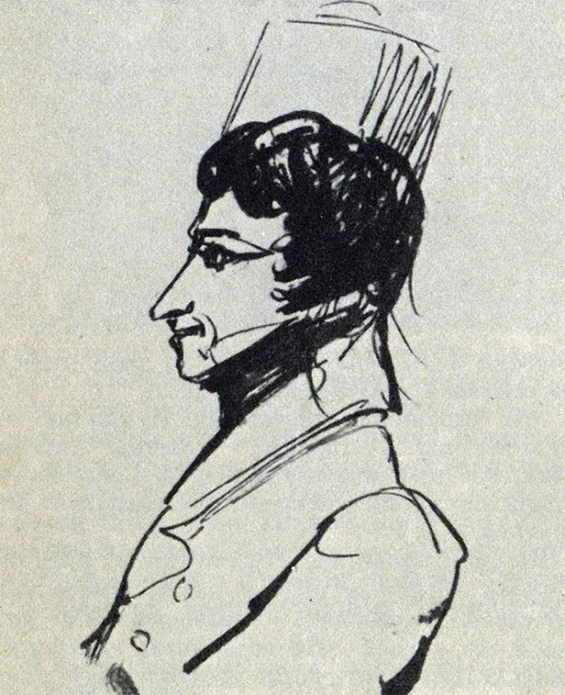Александр Сергеевич Пушкин «Грибоедов в эриванской шапке», 1829 год, рисунок из Ушаковского альбома