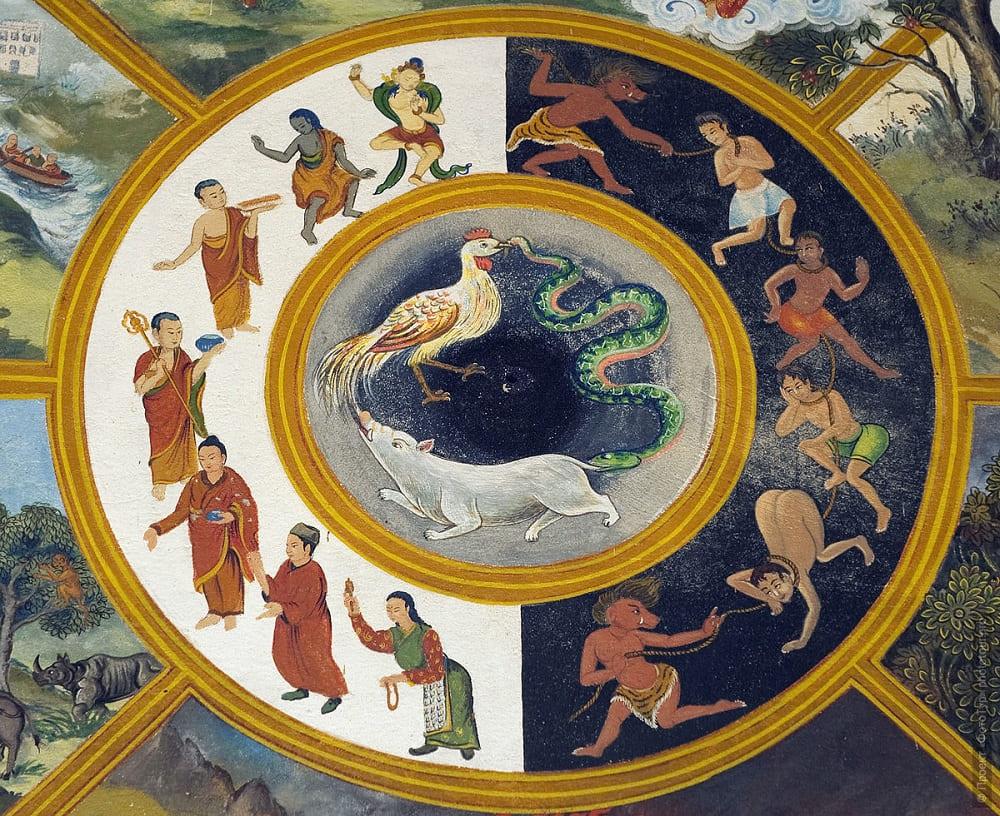 Фрагмент фрески «Колесо Сансары» (его центральная часть) / romanova-l.livejournal.com