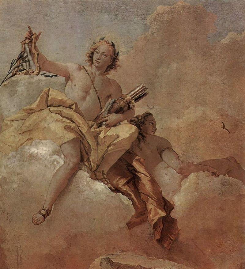 Джованни Доменико Тьеполо «Аполлон и Артемида», 1757 год Местонахождение: Вилла Вальмарана, Виченца, Италия