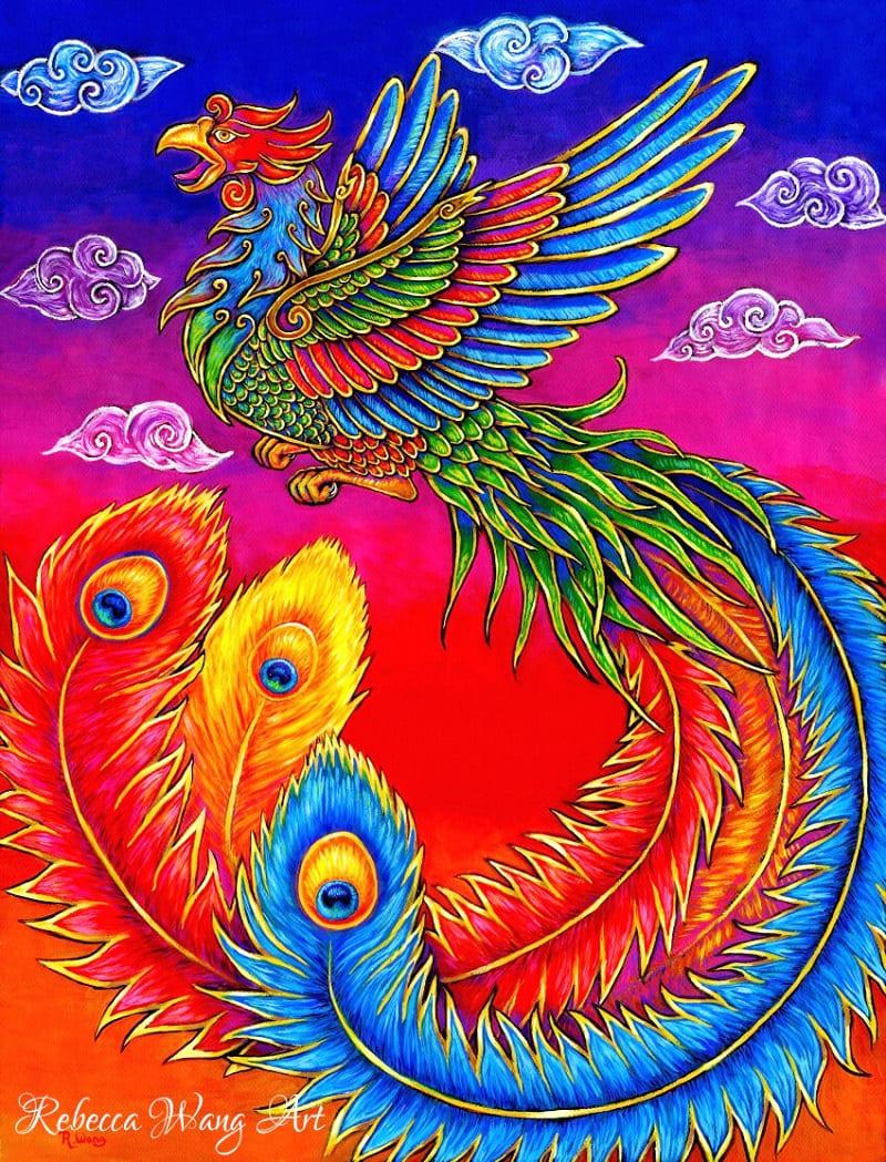 Фэнхуан - китайский Феникс, радужная птица / © Rebecca Wang / artstation.com