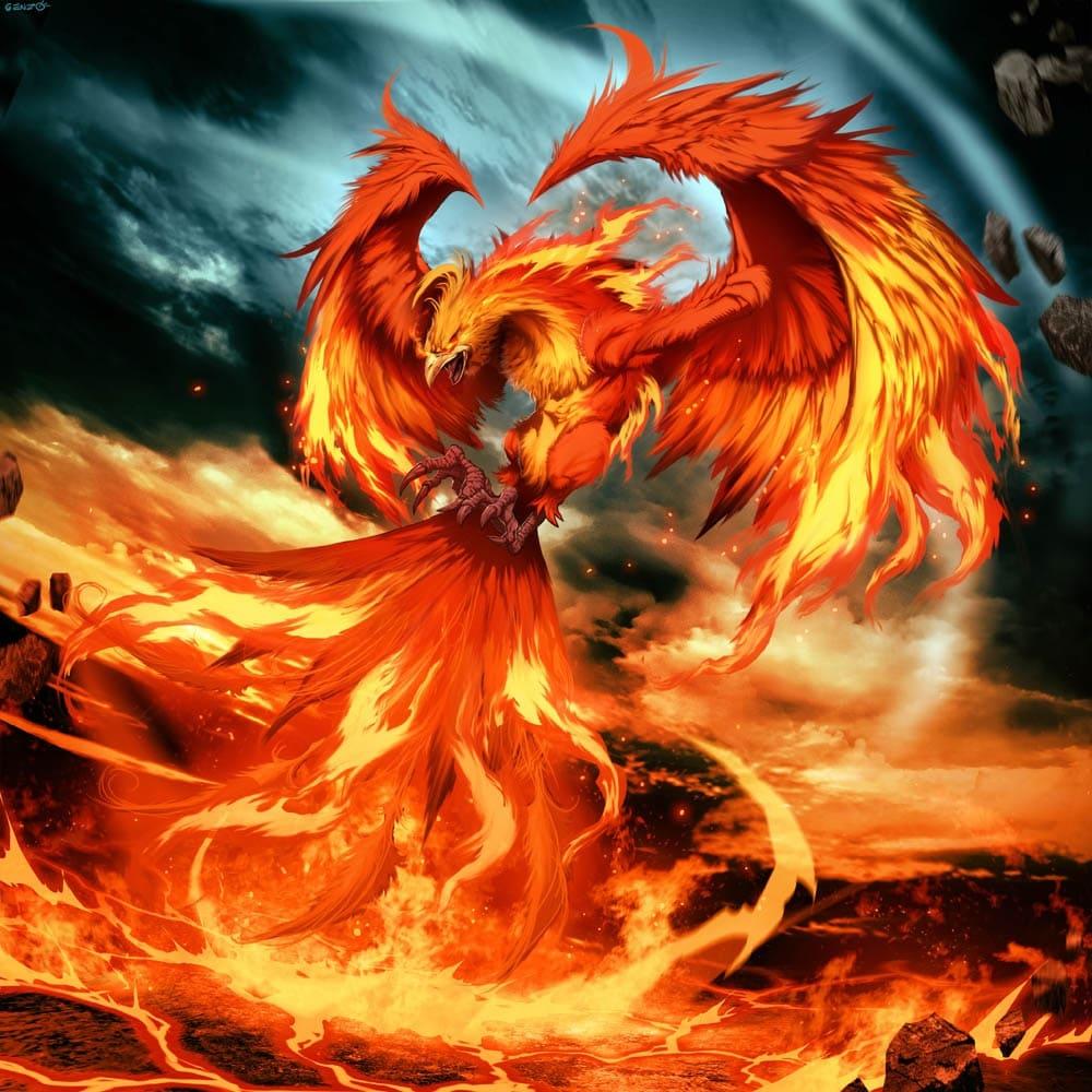 Феникс, воплощение Солнца, после своей смерти сгорает, обращаясь в пепел, однако тут же воскресает вновь / © Gonzalo Ordóñez Arias / bestiary.us