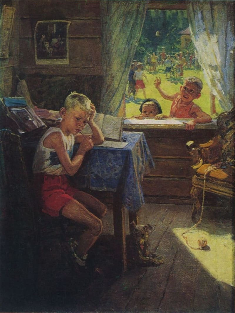 Фёдор Павлович Решетников «Переэкзаменовка», 1954 год Местонахождение: Художественный музей, Горловка, ДНР