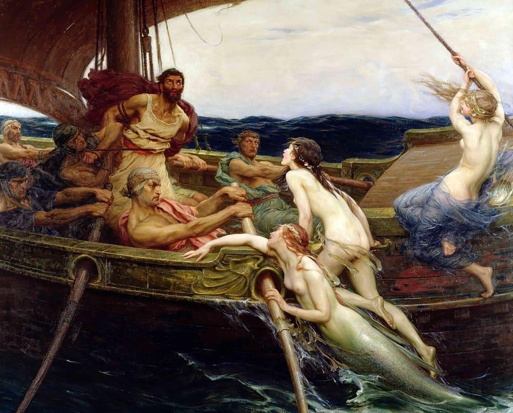 Герберт Джеймс Дрейпер «Одиссей и сирены», ок.1909 года Местонахождение: Художественная галерея Ференса, Кингстон-на-Халле, Великобритания