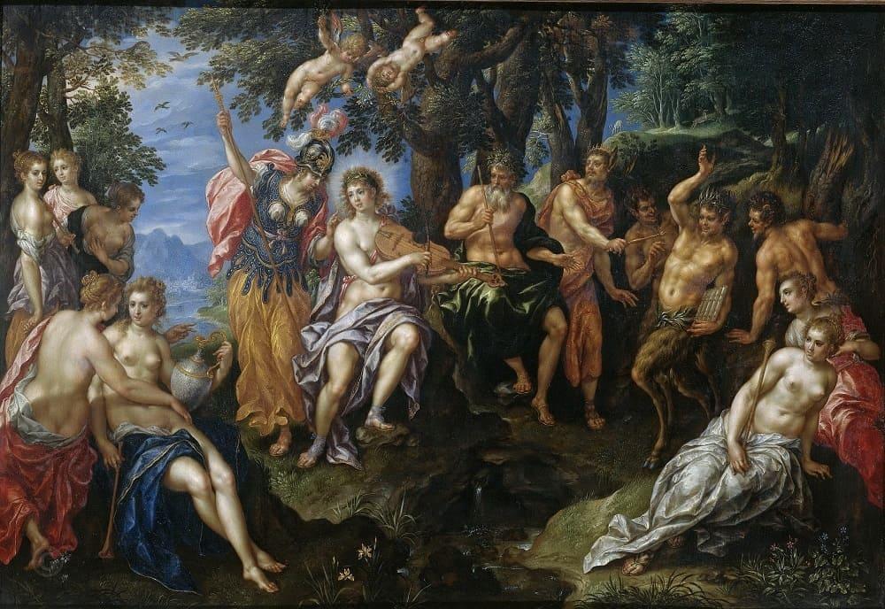 Хендрик де Клерк «Музыкальное состязание между Аполлоном и Паном», 1600-1629 годы Местонахождение: Рейксмузеум, Амстердам, Нидерланды