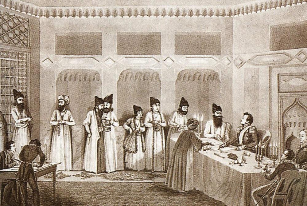 К. Осокин с оригинала В. И. Мошкова «Подписание мирного договора в Туркманчае 10 февраля 1828 года», конец 1820-х годов