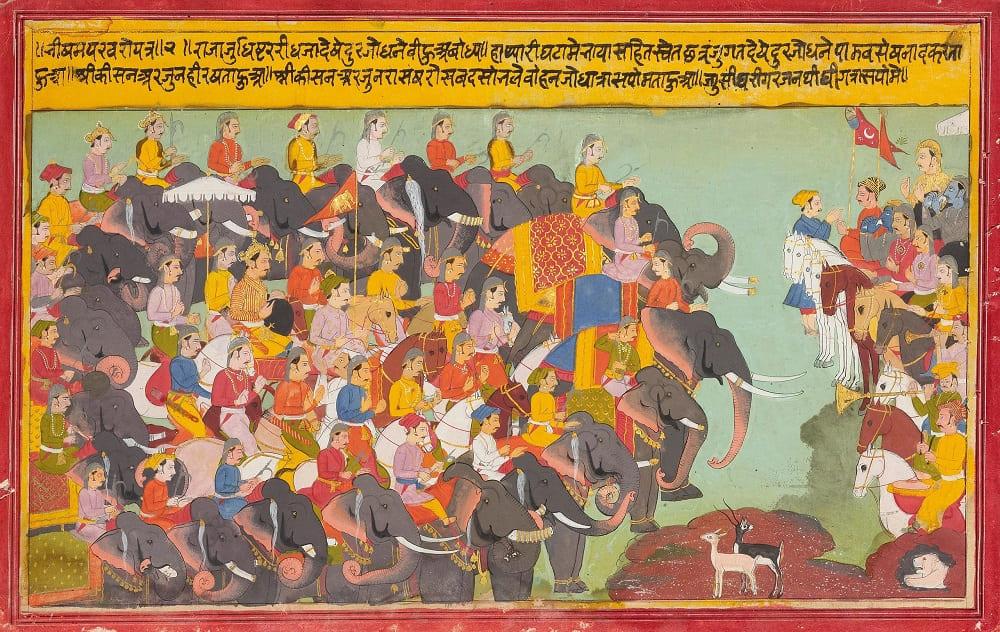 Кауравы на слонах против Пандавов на конях в битве на Курукшетре, 1700 год Местонахождение: Частная коллекция