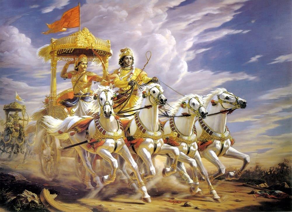 Кришна и Арджуна в битве на Курукшетре / kalaashram.in