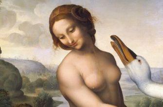 Леонардо да Винчи Леда и Лебедь, копия утраченной картины, фрагмент. Автор Чезаре да Сесто, ок.1510-1520 годов, Галерея Боргезе, Рим, Италия