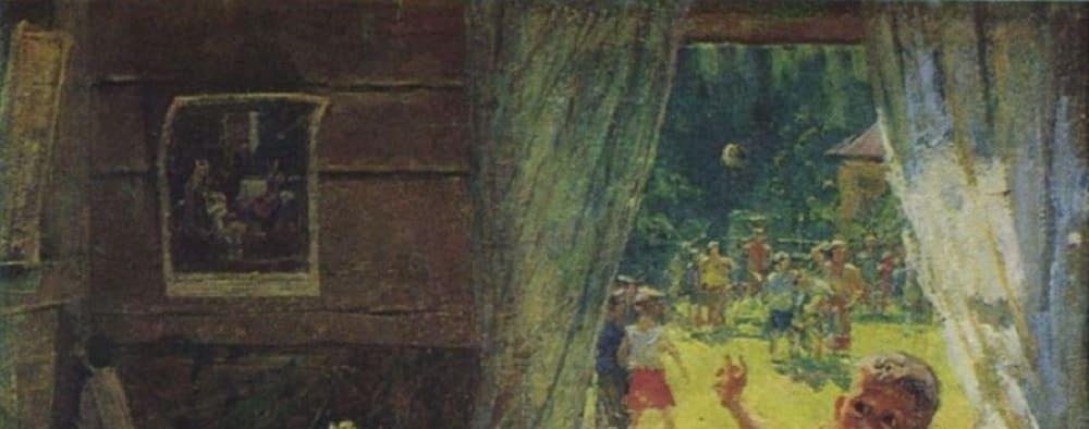 На стене висит репродукция картины Решетникова «Опять двойка»