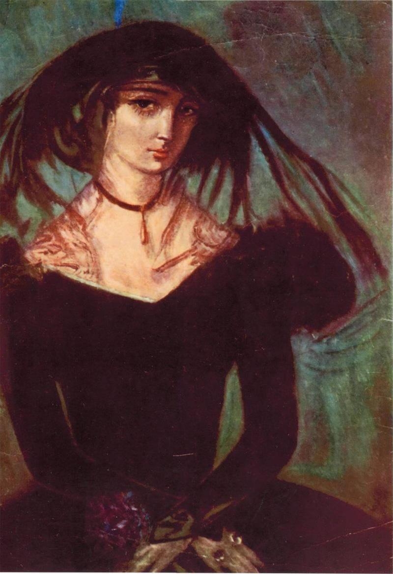 Натела Ианкошвили, «Нина Чавчавадзе (Грибоедова)», 1956 год. Нина всю жизнь носила траур по мужу, её называли «Чёрная роза Тифлиса»