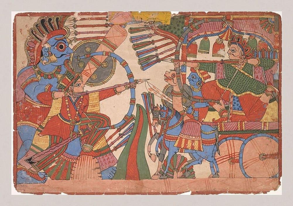 Неизвестный художник «Иллюстрация к Махабхарате», ок. 1800 года Местонахождение: Художественный музей, Кливленд, США