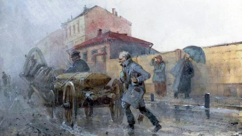 Николай Николаевич Каразин. Иллюстрация к первому роману Достоевского «Бедные люди», 1893 год
