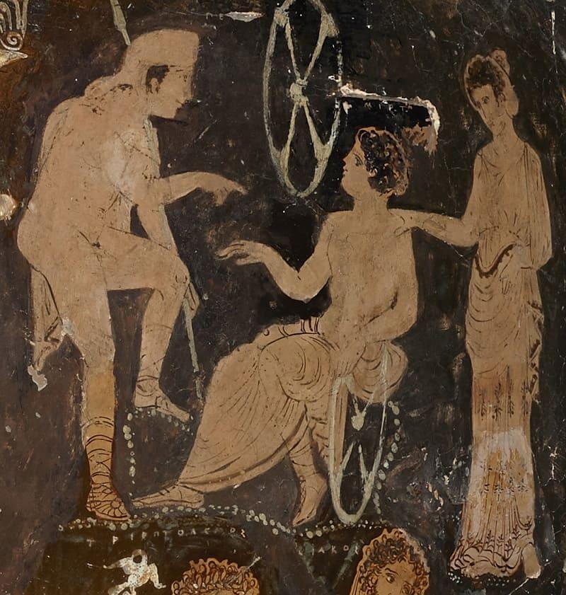 Пелопс, Миртил и Гипподамия. Рисунок на греческой вазе, ок.350 года до н.э. Местонахождение: Национальный археологический музей, Неаполь, Италия