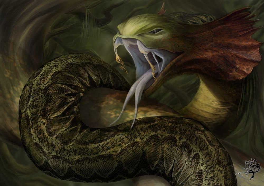 Плиний Старший указывает, что змей этот обитает лишь в пустынях / © Jorge Helgueta Manso / jorgehelguetam19.artstation.com